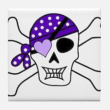Purple Pirate skull and crossbones Tile Coaster