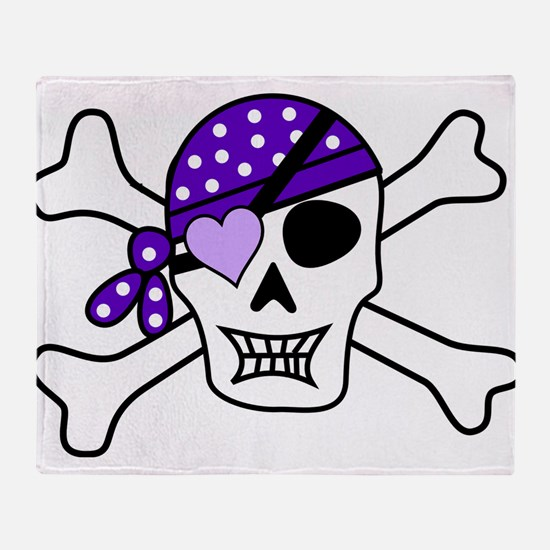 Purple Pirate skull and crossbones Throw Blanket