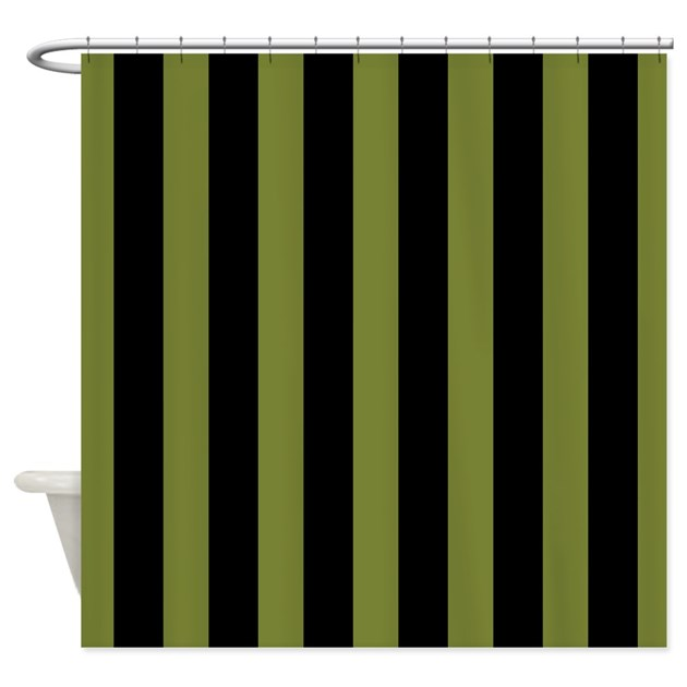 Olive Green Black Striped Shower Curtain By Mainstreethomewares