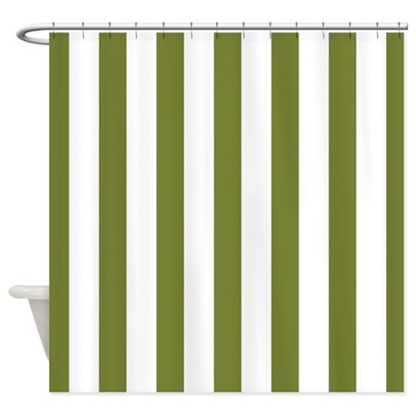 Olive Green White Stripes Shower Curtain By Mainstreethomewares