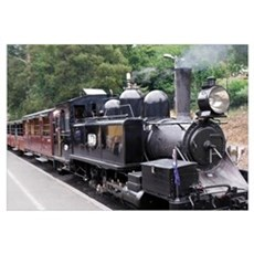 Black and White Old Fashioned Steam Train Engine Canvas Art