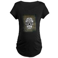Sugar Skull (black and white) Maternity T-Shirt