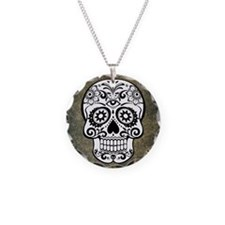 Sugar Skull (black and white Necklace Circle Charm