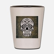 Sugar Skull (black and white) Shot Glass