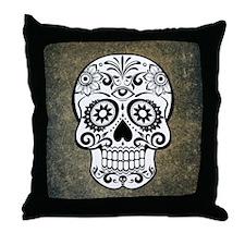 Sugar Skull (black and white) Throw Pillow