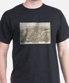 Vintage Pictorial Map of Nashua NH (1875) T-Shirt