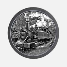Old Fashioned Black and White Steam Tra Wall Clock