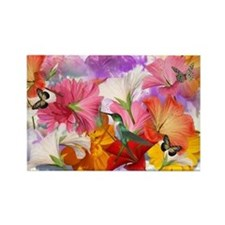Hibiscus Butterflies 2 Rectangle Magnet