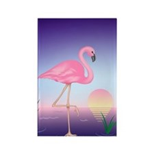 Pink Flamingo Rectangle Magnet
