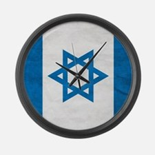 Grunge Flag Of Israel Large Wall Clock