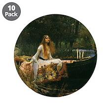 "Lady of Shalott by JW Waterh 3.5"" Button (10 pack)"
