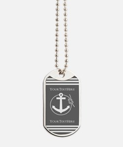 Gray and White Anchor and Rope Personaliz Dog Tags