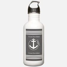 Gray and White Anchor Water Bottle