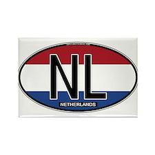 Netherlands Oval Colors Rectangle Magnet