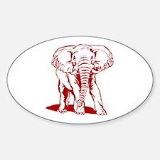 Cute Dark Red Elephant Line Drawing Decal