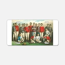 rugby art Aluminum License Plate