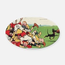 rugby art Oval Car Magnet