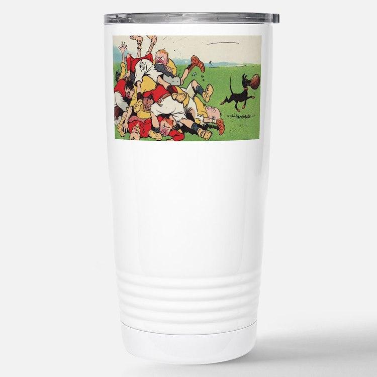 rugby art Travel Mug