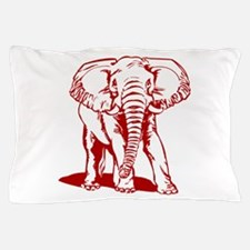 Cute Dark Red Elephant Line Drawing Pillow Case