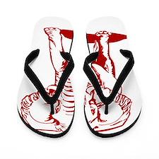 Cute Dark Red Elephant Line Drawing Flip Flops