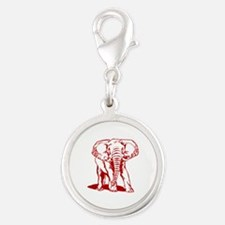 Cute Dark Red Elephant Line Drawing Charms