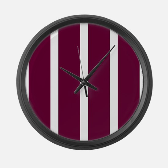 Bold Dark Red Stripe Large Wall Clock
