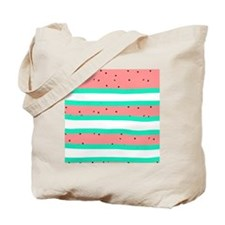 Summer bright coral mint watermelon strip Tote Bag