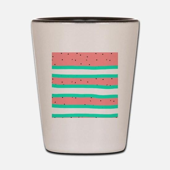 Summer bright coral mint watermelon str Shot Glass