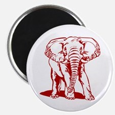 Cute Dark Red Elephant Line Drawing Magnets