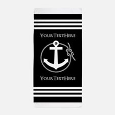 Personalized Black and White Anchor an Beach Towel
