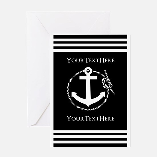 Personalized Black and White Anchor Greeting Card