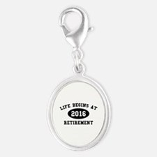 Life Begins At Retirement Silver Oval Charm