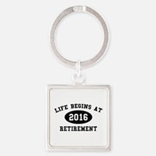 Life Begins At Retirement Square Keychain