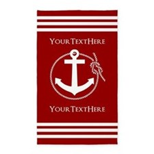 Personalized Red and White Nautical Ancho Area Rug