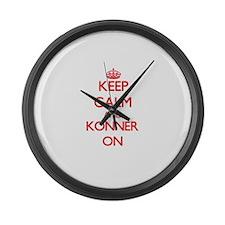 Keep Calm and Konner ON Large Wall Clock