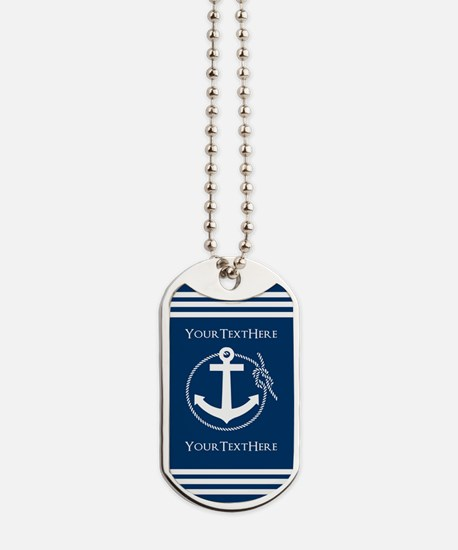 Nautical Anchor Personalized Dog Tags