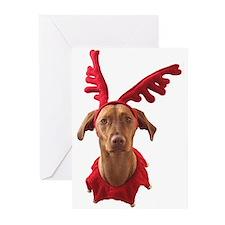 Vizsla Christmas Reindeer Greeting Cards (Pk of 10