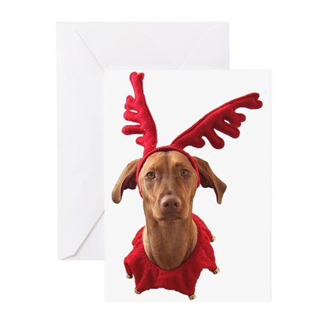 Vizsla Christmas Reindeer Greeting Cards (Pk of 20