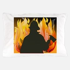 Firefighter silhouette against flames Pillow Case