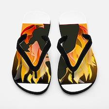 Firefighter silhouette against flames Flip Flops