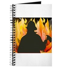 Firefighter silhouette against flames Journal