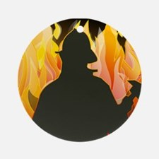 Firefighter silhouette against fl Ornament (Round)