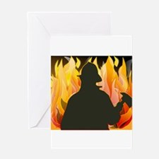 Firefighter silhouette against flam Greeting Cards