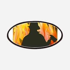 Firefighter silhouette against flames Patch