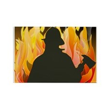 Firefighter silhouette against flames Magnets