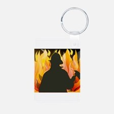 Firefighter silhouette against flames Keychains