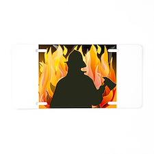 Firefighter silhouette agai Aluminum License Plate