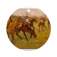degas horse racing art Ornament (Round)