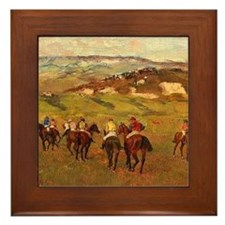 degas horse racing art Framed Tile