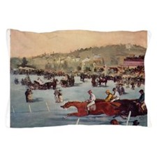 horse racing art by manet Pillow Case